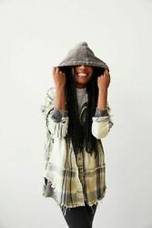 Free People Calico Basin Gray Combo Hooded Button Down Top Jacket Hoodie Small