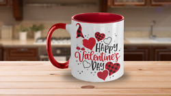 Mug Valentines Day Gift Happy Valentines Day Gnome Coffee Two-toned Color Mug