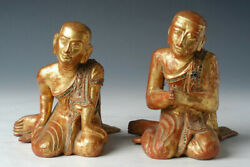 19th Century Mandalay A Pair Of Antique Burmese Wooden Seated Disciples