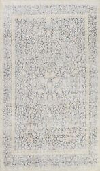 Antique Muted Kirman Distressed Hand-knotted Area Rug Evenly Low Pile Wool 8x11