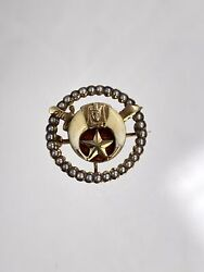 Antique Woman's Egyptian Revival Masonic Shriners Eastern Star Pin 14k Yellow Go