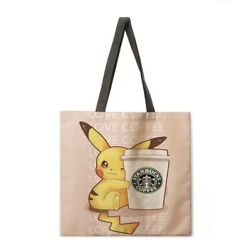 Large Canvas Beach Picnic Pikachu Tote Outdoor Bag $8.50