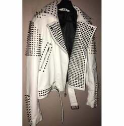 Full Studded Metal Punk Classy White Handmade Palpable Leather Slim Fit Jacket