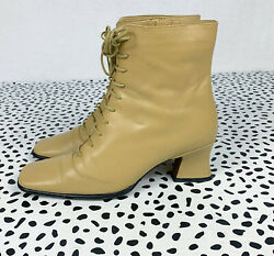 BY FAR Kate Leather Ankle Boots In Beige $470 lace up chunky heel sz 38 US 7 $199.99