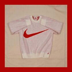 Supreme X Nike Swoosh Sweater, Small, White/red, Ss19 Jumper/drop