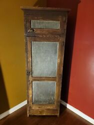 1800's Antique Primitive Pie Safe Punched Tin Cabinet Cupboard