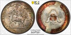 1938 50c New Rochelle Pcgs Ms67+ Package-toned Silver Commemorative Half Dollar