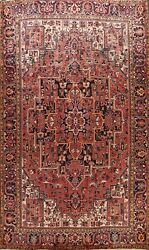 Vintage Geometric Vegetable Dye Heriz Serapi Hand-knotted Large Area Rug 10and039x13and039