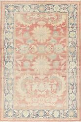 Antique Muted Red Vegetable Dye All-over Oushak Turkish Area Rug Wool Carpet 6x9