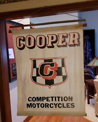 Rare 1972-ish Cooper Competition Motorcycle Cloth Banner Sign
