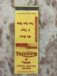 Triumph Motorcycle Matchbook Cover Of Tucson Az We Have A Tiger You Can Ride