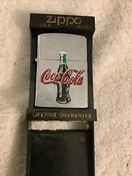 Coca-cola Zippo Lighter Stainless And Enamel Coke Adds Life Rare 2001 Xvi Rear