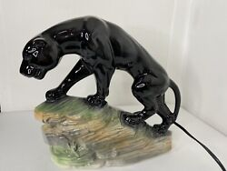 Vintage Black Panther Tv Lamp Lane And Company 1959 Excellent
