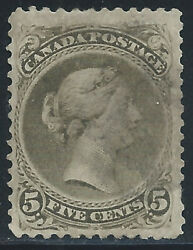 Canada 26a2 1875 5 Cent Olive Green Queen Victoria Used Cv1250.00
