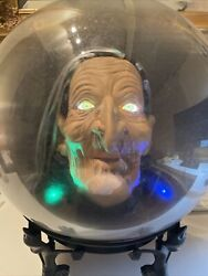 Halloween Prop Talking Witch Head Animated Crystal Spirit Ball Gemmy Lighted