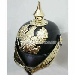 Leather Pickelhaube Helmet German Prussian Brass Scaled Chin Strap Without Stand