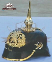 German Prussian Brass Leather Pickelhaube Helmet Scaled Chin Strap Without Stand