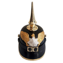 Long Spike Chin Strap German Prussian Leather Pickelhaube Helmet Without Stand