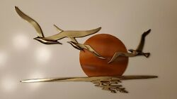 Wall Mounted Brass Birds And Copper Sun 1950s Bijan Style Mid Century Brutalist