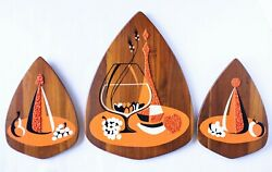 Mcm Gravel Art Plaque Picture Set Wood Abstract 50's 60's