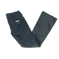 Hudson Jeans Black Corduroy Flared Pants Double Button Size 28 Made In Usa