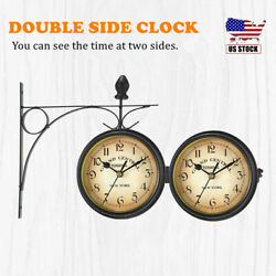 Antique Wall Mount Clock Double Sided Outdoor Bracket Clock Home Decoration Usa