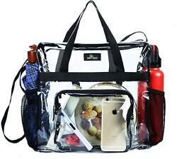 Clear Bag Stadium Approved Transparent Clear Tote Bag for Work Sports Games $22.47