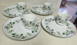 4 Snack Sets Dog Wood Pattern By Heygill 8 Pieces Cups And Saucer Plates Vgc