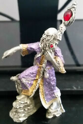Masterworks Fine Pewter Wizard With Staff And Firedrake