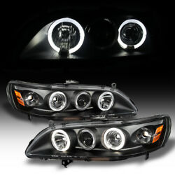 For Black 1998 2002 Honda Accord 2 4Dr LED Halo Projector Headlights LeftRight