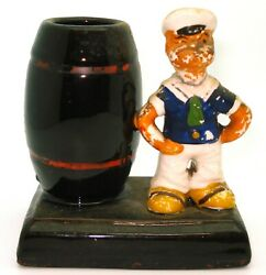 Vintage 1950and039s Popeye Figurine With Barrel - 4 Ceramic -