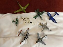 Toy Airplanes Lot Of 7 Metal And 1 Plastic Not Mint See Pics