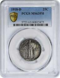 1918-d Standing Liberty Silver Quarter Ms63fh Pcgs