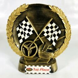 K1 Speed 1st Place Checkered Flag Ceramic Trophy - Collectible Display