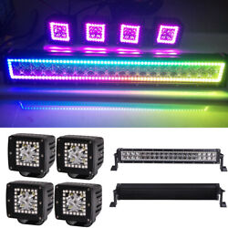 13-52 Led Offroad Light Bar Rgb Halo Chasing + 4x 3 Work Halo Cube Pods Remote