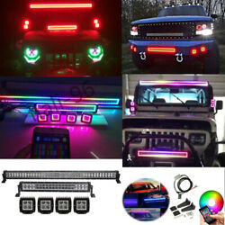 2x 13-52inch Offroad Cree Led Light Bar + 4x 3 Work Lamp Rgb Chasing Halo Ring