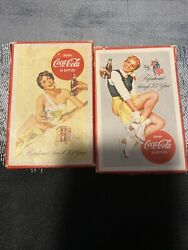 2 Vintage Refreshment Through 70 Years Coca Cola Playing Cards And Box Original