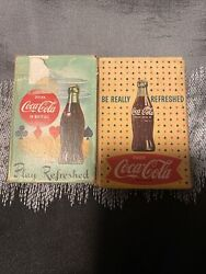 2 Coca-cola Playing Cards Play Refreshed Original Stamped Box 1958
