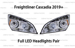 Freightliner Cascadia Led Headlight Halo Ring Drl Projector Headlamps For 2018+