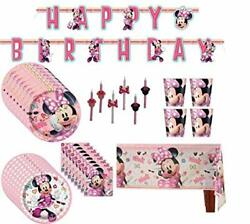Minnie Mouse Birthday Party Supplies Pack Big/small Plates Cups Napkins Table...