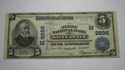5 1902 Saint Peter Illinois Il National Currency Bank Note Bill Ch 9896 Vf+ St