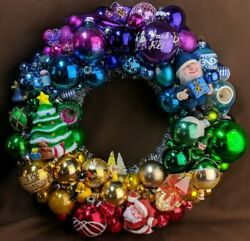 Kitschy Ornament Wreath Ooak Handmade W/ Vintage And New Items 15 Rainbow Ombre