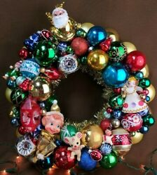 Kitschy Ornament Wreath Ooak Handmade With Vintage And New Items 14 Gold Multi