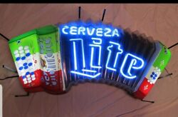 Miller Lite Beer Accordion Music Neon Light Up Sign Cerveza Bar Mexican Mib