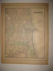 Superb Antique 1887 Chicago Illinois Dated Handcolored Map Railroad Detailed Nr