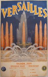 1935 Original French Art Deco Travel Poster Versailles Rare Collectable