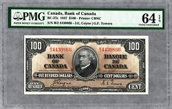 1937 Bank Of Canada, 100 Banknote Pmg Unc-64 Epq