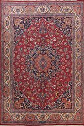 Vintage Kashmar Signed Vegetable Dye Floral Area Rug Hand-knotted Carpet 10and039x13and039