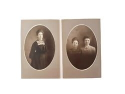 2 Antique Victorian Cabinet Card Photos Sisters Ornate Dresses Ruffle Collars