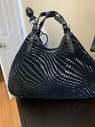 Womens Purses And Handbags New Cole Haan Hobo Woven Leatherand Suede Black